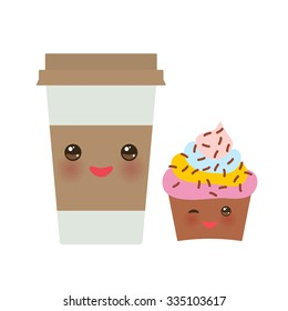 Take-out coffee in Paper thermo coffee cup with brown cap and cup holder, chocolate cupcake. Kawaii cute face with eyes and smile  Isolated on white background. Vector