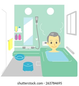Taking a bath, old man