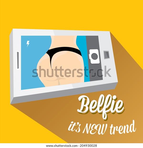 Taking Belfie Photo on Smart Phone concept on orange background. vector illustration