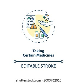 Taking certain medicines concept icon. Dry eye causes. Clinical treatment process of eyes diseases idea thin line illustration. Vector isolated outline RGB color drawing. Editable stroke