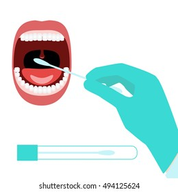 Taking DNA testing sample by buccal swab probe. Vector illustration of medical procedure taking probe for genealogical DNA test, DNA paternity testing, forensic DNA profiling