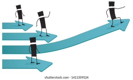 Taking off for success, isolated on white background. Several stick figures are above arrows. One is taking off: going to succeed.