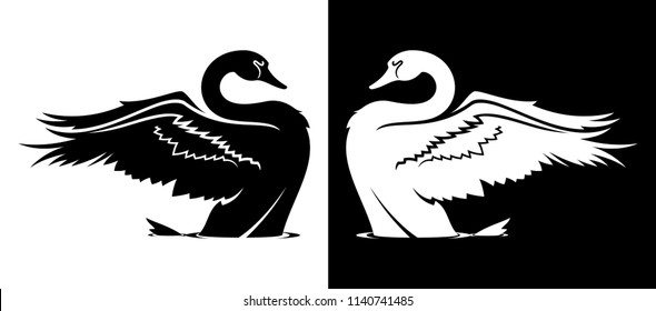Taking off swan silhouette in black and white variants