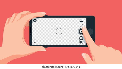 Taking photo with smartphone. Finger touching mobile phone screen to make picture. Pressing camera button, transparent background for photo. Person holding device vector illustration.