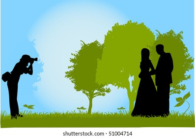 Taking photos of young couples, outdoor