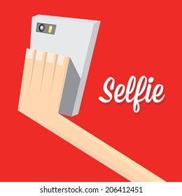 Taking Selfie Photo on Smart Phone concept on red background. vector illustration