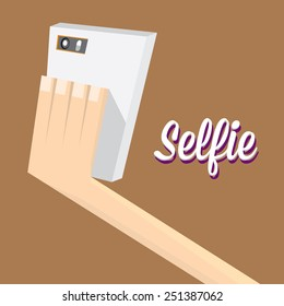 Taking Selfie Photo on Smart Phone concept on brown background.