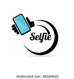 Taking Selfie Photo on Smart Phone concept icon set. vector illustration
