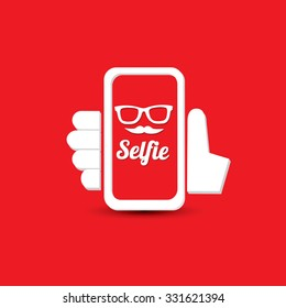 Taking Selfie Photo on Smart Phone concept icon on red background. vector illustration
