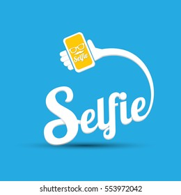 Taking Selfie Photo on Smart Phone concept creative icon. vector Selfie label or Selfie badge on blue background