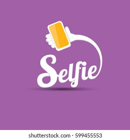 Taking Selfie Photo on Smart Phone concept creative icon. vector Selfie label or Selfie badge on violet background