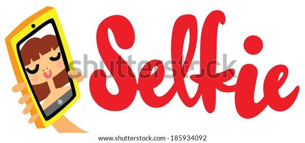 Taking Selfie Photo on Smart Phone with Selfie Type