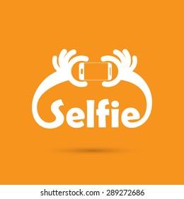 Taking selfie portrait photo on smart phone concept icon. Selfie concept design element. Vector illustration