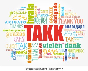 Takk (Thank You in Icelandic) Word Cloud background, all languages, multilingual for education or thanksgiving day