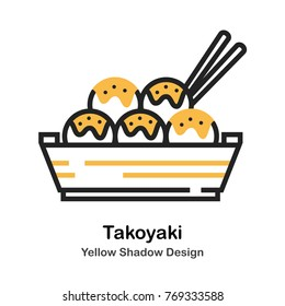 Takoyaki and chopsticks lineal vector illustration