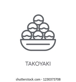 Takoyaki linear icon. Modern outline Takoyaki logo concept on white background from Hotel and Restaurant collection. Suitable for use on web apps, mobile apps and print media.
