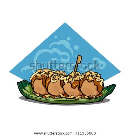 Takoyaki Tasty Japanese Food Fresh Healthy Stock Vector (Royalty ...