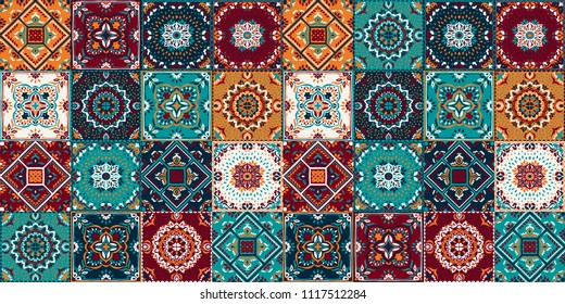 Talavera pattern.  Indian patchwork. Azulejos portugal. Turkish ornament. Moroccan tile mosaic. Ceramic tableware, folk print. Spanish pottery. Ethnic background. Mediterranean seamless  wallpaper.