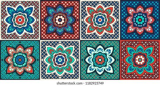 Talavera pattern.  Indian patchwork. Azulejos portugal. Turkish ornament. Moroccan tile mosaic. Ceramic tableware, folk print. Spanish pottery. Ethnic background. Mediterranean seamless  wallpaper.