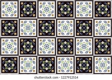 Talavera pattern. Indian patchwork. Azulejos portugal. Turkish ornament.  Moroccan tile mosaic. 351616fd29a3