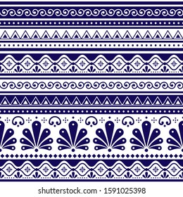 Talavera Poblana vector seamless pattern inspired by traditional Mexican decorated pottery and ceramics in navy blue on white background. Retro floral and goemetric ornament