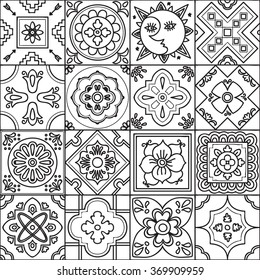 Talavera set of 16 mexican tiles. Seamless pattern. Adult coloring