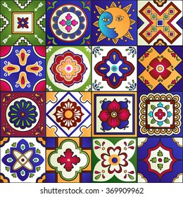 Talavera Set Of 16 Mexican Tiles Seamless Pattern