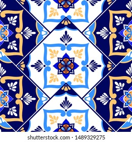 Talavera tile pattern vector seamless with border parquet ornament. Portuguese azulejos, mexican puebla ceramic, italian sicily majolica. Mosaic background for bathroom or kitchen wall.