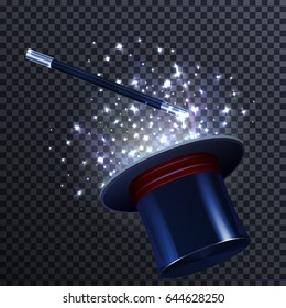 Tale composition with glittering effect magic wand and magician hat on transparent background realistic vector illustration