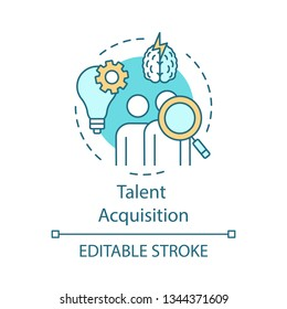 Talent acquisition concept icon. Recruiting process idea thin line illustration. Hiring skilled employee. Source potential hires. Talent marketplace. Vector isolated outline drawing. Editable stroke