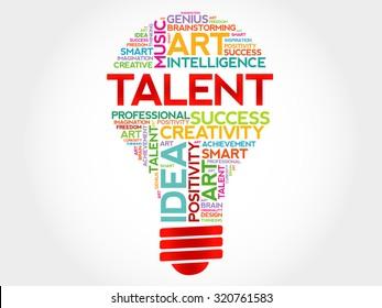 Talent bulb word cloud concept