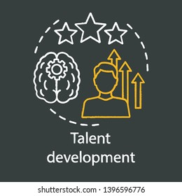 Talent development chalk concept icon. Personal growth, inspiration, aspiration idea. Progressive opportunity. Achievement, success, improvement vector isolated chalkboard illustration