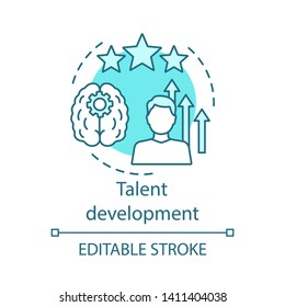 Talent development turquoise concept icon. Personal growth, inspiration, aspiration idea thin line illustration. Achievement, success, improvement vector isolated outline drawing. Editable stroke
