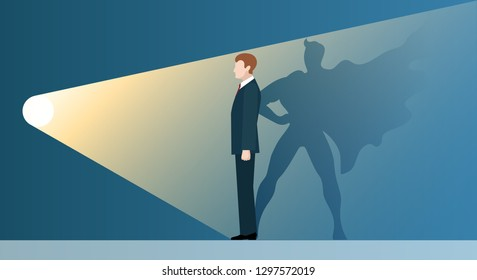 Talent headhunting. Sucsess leader like superhero in spotlight, vector concept of business recruitment for new career