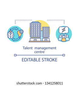 Talent management center concept icon. Employees training idea thin line illustration. Recruiting team. Business company building. Vector isolated outline drawing. Editable stroke