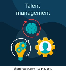 Talent management flat concept vector icon. Developing and retaining employee idea cartoon color illustrations set. Worker training program, mentoring coaching. Isolated graphic design element