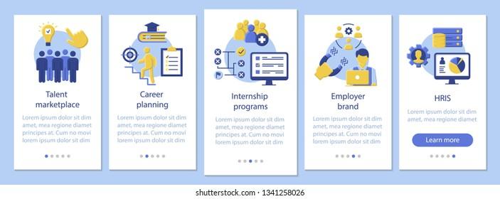 Talent management onboarding mobile app page screen vector template. Internship program, marketplace. HRIS. Flat design website instructions. UX, UI, GUI smartphone interface cartoon concept