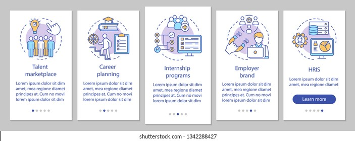Talent management onboarding mobile app page screen vector template. Internship program, marketplace. HRIS. Walkthrough website steps, linear illustrations. UX, UI, GUI smartphone interface concept