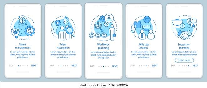 Talent management onboarding mobile app page screen vector template. Workforce planning, talent acquisition. Walkthrough website steps, linear illustrations. UX, UI, GUI smartphone interface concept
