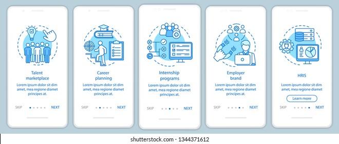 Talent management onboarding mobile app page screen vector template. Marketplace. Internship program. HRIS. Walkthrough website steps, linear illustrations. UX, UI, GUI smartphone interface concept