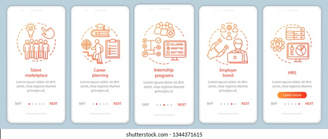 Talent management onboarding mobile app page screen with linear concepts. Marketplace. HRIS. Internship program walkthrough steps graphic instructions. UX, UI, GUI vector template with illustrations