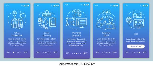 Talent management onboarding mobile app page screen vector template. HRIS. Marketplace, internship program. Walkthrough website steps, linear illustrations. UX, UI, GUI smartphone interface concept