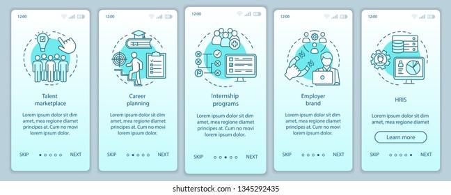 Talent management onboarding mobile app page screen vector template. Marketplace. HRIS, internship program. Walkthrough website steps, linear illustrations. UX, UI, GUI smartphone interface concept