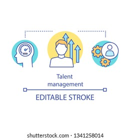 Talent management program concept icon. Skills development idea thin line illustration. Employee retrain. Career growth. High-potential worker coaching. Vector isolated drawing. Editable stroke