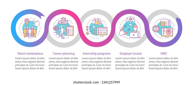Talent management vector infographic template. Career marketplace. Business presentation design elements. Data visualization with steps, options. Process timeline chart. Workflow layout, linear icons
