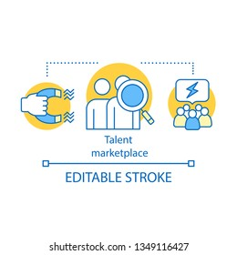 Talent marketplace source concept icon. Recruiting process idea thin line illustration. HR resource. HRIS program. Talent acquisition team. Vector isolated outline drawing. Editable stroke