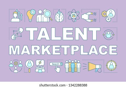 Talent marketplace word concepts banner. HR resource. HRIS. Attracting skilled employee. Recruiting. Presentation, website. Isolated lettering typography idea, linear icon. Vector outline illustration