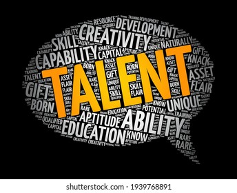 Talent message bubble word cloud collage, concept background