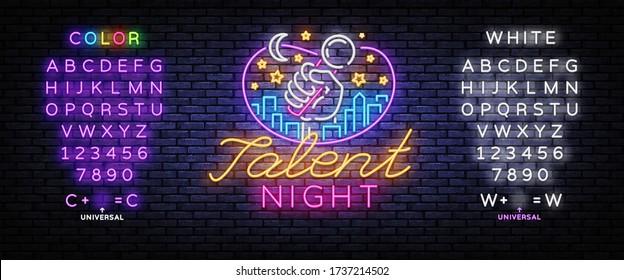 Talent Night Neon Signboard Vector. Talent Show neon sign, design template, modern trend design, night signboard, night bright advertising, light background. Vector. Editing text neon sign.