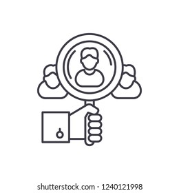 Talent search line icon concept. Talent search vector linear illustration, symbol, sign